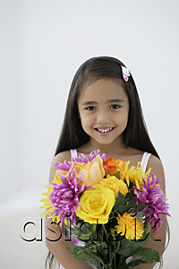 AsiaPix - A young girl with a bunch of flowers
