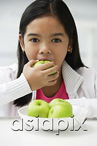 AsiaPix - Girl eating green apple